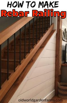 How To Make Rebar Railing - what you need to do it yourself. Creating homemade porch railings from rebar. Not only do these DIY rebar railings save big money over traditional wood spindles, they look great too! Rebar Railing, Diy Stair Railing, Loft Railing, Deck Stairs, Staircase Railings, Porch Railings, Deck Railing Ideas Diy, Porch Railing Designs, Aluminum Railings