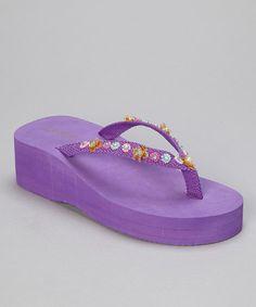e149aa4a3 la pomme Purple Floral Bead Wedge Flip-Flop