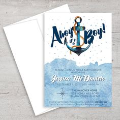 Nautical Baby Shower Invitation Anchor Ahoy It's A Boy