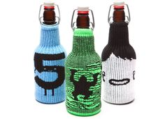 "These are awesome! Threadless Freakers are koozies that fit on any shape of beverage container! From left to right: ""Hi 5"" by Jaco Haasbroek, ""Kongalism"" by Philip Haragos & ""Face"" by Olivier Fritsch Gomez"