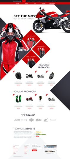 With this responsive Motocross OpenCart Template you will be able to launch a full-featured online store in no time. Template Web, Ecommerce Template, Free Website Templates, Ford Gt, Motorcycle Design, Motorcycle Clubs, Web Layout, Design Layouts, Site Design