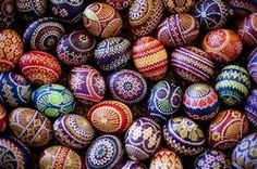 Easter eggs are on display at a Sorb market in Schleife, about 160 kilometers (100 miles) south-east of Berlin, on Saturday, March 24, 2012. A tiny Slavic minority in Germany is keeping alive a long and intricate tradition of hand-painting Easter eggs _ with the help of feathers and wax. Shortly after Christmas every year, Karin Hannusch gets to work decorating up to 600 eggs for the annual Easter market in Schleife, a center of the small Sorbian community.