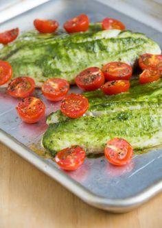 Pesto Tilapia with Cherry Tomatoes