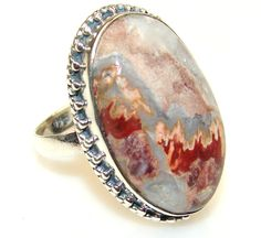 $40.85 Rosetta Picture Jasper Sterling Silver ring s. 9 at www.SilverRushStyle.com #ring #handmade #jewelry #silver #jasper
