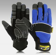 """MG-9913-00 Kevlar Mechanics Gloves is Perfect for Handling Heavy Work Made of Front Black Amara """"Synthetic Leather"""", Back Blue Spandex """"4-Way Cloth"""", Neoprene on Knuckle Panel Provides Flexibility, KEVLAR Reinforced on Fingers Tips and Palm for More Gripping Power, This Non-Slip Grip Is Ideal for Use for Hand and Power, Tools in Dry, Wet or Oily Conditions, Calf with RIGGERMEN Straps with Velcro Closure. Suitable for Construction, Hand & Power Tools, Heavy Mechanics Works and Machinists."""