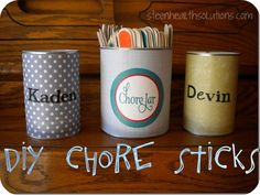 Put chores on popsicle sticks to have kids randomly choose chores!  Even the parents get to choose, too.  LOVE it!  From steenhealthsolutions.com