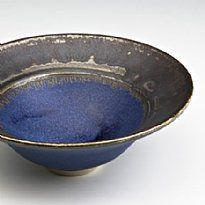 A work by Scottish Potter Val Burns - Dark Blue bowl, pewter rim