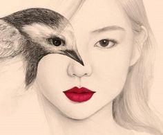 Tekeningen van het meisje met vogels