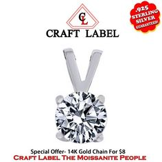 """1.05 Ct Brilliant Cut 14K Gold Solitaire Pendant Without Chain """"Mother\'s Day Gift"""". Starting at $89"""