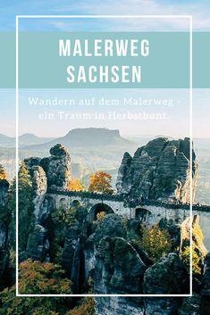 Wandern auf dem Malerweg in der Sächsischen Schweiz im Elbsandsteingebirge - eine Wanderung in Herbstbunt mit dem berühmten Aussichtspunkt auf der Bastei. Etappe 1 und 2 vom Fernwanderweg in Sachsen. #Malerweg #Sachsen #Fernwanderweg #Elbsandsteingebirge #SächsischeSchweiz