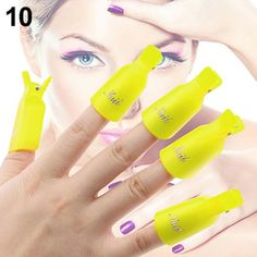 10-Pcs Pleasure Popular Plastic Nails Art Clip Cap DIY Peel Tips Pedicure Kit Polish Tool Color Yellow * Be sure to check out this awesome product.
