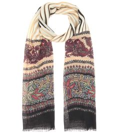 ETRO Printed Wool And Silk Scarf. #etro #scarves