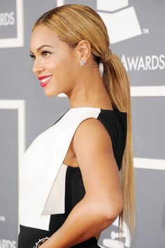 Beyoncé's low sleek ponytail  Tip: Either high or low ponytails make no difference to the formality of it