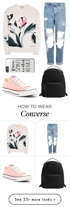 """Untitled #829"" by smartfashion-1 on Polyvore featuring Burberry, Topshop, MANGO and Converse"
