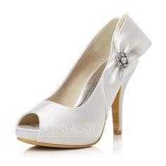Women's Satin Stiletto Heel Peep Toe Pumps With Bowknot Rhinestone (047048026) - JJsHouse