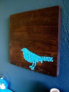 Modern String Art Wooden Tablet - Blue Bird on Jacobean $25