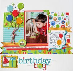 1 photo 1 page scrapbook layout birthday balloons Baby Boy Scrapbook, Birthday Scrapbook Layouts, Scrapbook Sketches, Scrapbook Page Layouts, Scrapbook Templates, Scrapbook Paper Crafts, Scrapbook Supplies, Scrapbook Cards, Scrapbook Photos