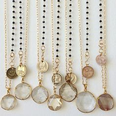Tibetan quartz and vintage coin necklaces - incredibly pretty