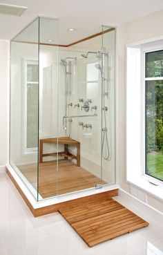 Teak Shower Floor Decorating For Inspire You : Cool Brown Color Style Teak Shower Floor with Corner Space Brown Wood Bench Furniture and Contemporary Stainless Steel Shower Faucets also Simple Glass Materials Front Doors