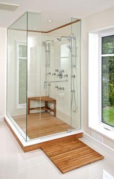 Teak Shower Floor Decorating For Inspire You : Cool Brown Color Style Teak  Shower Floor With