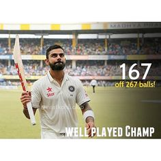 Virat Kohli's Test 100s: .  First 7 100s - 116, 103, 103, 107, 119, 105*, 115 Next 7 100s - 141, 169, 147, 103, 200, 211, 167 (today) .  Missed a well deserved Double Hundred, but he doesn't care for personal milestones. His innings has already put India in Commanding position! ❤ #ProudViratian