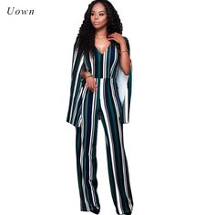03adca69fd1 Women s Striped Print Wide Leg Party Jumpsuits Long Pants Romper Ladies  Cloak Sleeve Back Hollow out