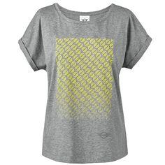 T-Shirt: Women's: Signet Print: Gray/Lemon 80142445577 80142445578 80142445579 80142445580 80142445581 - MINI Cooper Accessories + MINI Cooper Parts