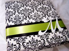 WEDDING GUEST BOOK - Black and White Madison damask, Lime Green Ribbon, Basic Style