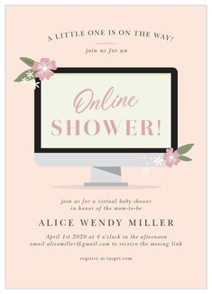 Unconventional problems call for creative solutions, like an online baby shower! That's why our Online Computer Long Distance Baby Shower Invitations is here for you. Baby Shower Program, Baby Shower Niño, Virtual Baby Shower, Baby Shower Thank You, Baby Shower Invites For Girl, Baby Shower Favors, Baby Shower Parties, Baby Shower Themes, Shower Ideas