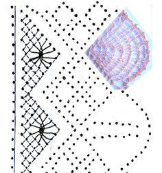 foto 6: fotomontaje pluma con remate en trenza de 4 cabos sobre esquema-picado puntilla de encaje de bolillos número 1