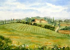 Chianti Villa by Vikki Bouffard ~ watercolor vineyard