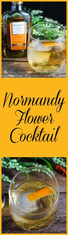 Normandy Flower Cocktails - Calvados, St Germain Elderflower liquor, tonic water drink, france, recipe, brandy