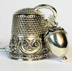 Antique Thimble Peter Pan Thimble and Acorn Hidden Kisses Necklace Sterling Silver by HooliganAlley on Etsy
