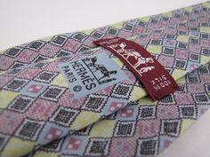 Auth HERMES Paris Tie 7699 OA Pink Yellow Blue Whimsical Geometric Diamond Check #Hermes #Tie