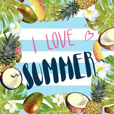 Summer collage with juicy tropical fruits