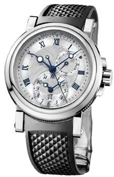 Breguet Marine Dual Time Silver Dial Black Rubber Men's Watch 5857ST/12/5ZU - Breguet - Shop Watches by Brand - Jomashop