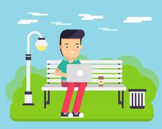 Boy with computer in the park by @Graphicsauthor
