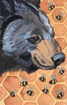 Black Bear and Bumble Bee Watercolor Painting - Original Painting - Woodland Wall Art - Woodland Nursery Decor - Bear Home Decor Art Custom Dog Portraits, Pet Portraits, Bear Paintings, Original Paintings, Black Bear Decor, Bear Print, Woodland Nursery Decor, Dog Memorial, Animal Sketches