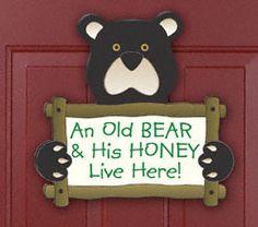 Old Bear Door Sign Woodcraft Pattern