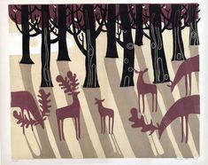 Melvyn Evans, lino print, printmaking, relief print, deer, forest, illustration