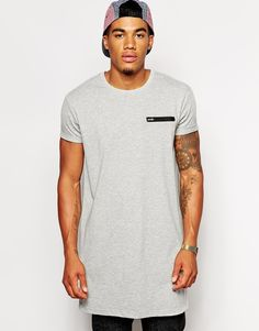 ASOS BRAND ASOS Super Longline T-Shirt With Zip Leather Look Pocket - Click link for product details :)