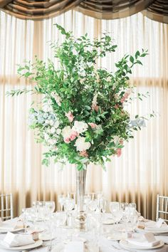 Greenery centerpiece: http://www.stylemepretty.com/new-york-weddings/mamaroneck-new-york/2017/02/07/these-bridal-portraits-will-have-you-craving-a-garden-wedding/ Photography: BrklynView - http://www.brklynview.com/