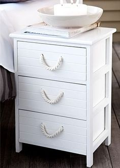 nautical nightstand | Attach thick rope handles in white for a sophisticated cottage look ...
