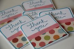 Mini Thank you Cards Set of 6 Polka Dots by CoopsCraftyCorner, $5.50