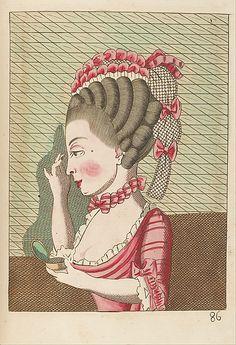 """Legros de Rumigny, """"L'art de la coëffure des dames françoises, avec des estampes : où sont représentées les têtes coëffées, gravées sur les dessins originaux de mes accommodages, avec le traité en abrégé d'entretenir & conserver les cheveux naturels,"""" 1768-70 (Met Museum)"""