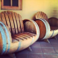 Oak wine barrel chairs....