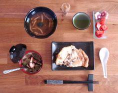 Soupe Ankake, Chawanmushi, et feuilleté de Shimejis