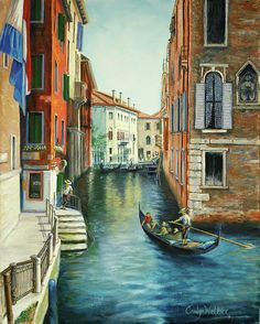 Title: Sempre Ricordare (To Always Remember). A magical trip to Europe and Venice in particular inspired this painting of a canal scene. This is an oil painting. Always Remember, Venice, Original Art, Scene, Europe, The Originals, Studio, Artwork, Paintings