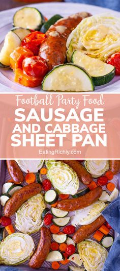 Get your Super Bowl party food meal ready in about 30 minutes with this easy cabbage and sausage recipe for a sheet pan dinner. It's also the perfect easy weeknight meal! #dinner #dinnerrecipe #dinnertonight #recipe #sausage #cabbage #sheetpan #sheetpandinner #quickdinner #easydinner #kidfriendly #seahawks #footballfood #footballparty #tailgating #superbowlfood #superbowlsnacks #gameday #gamedayfood #footballpartyfood