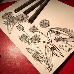 """""""Nytt projekt, förhoppningsvis färglagt och klart till helgen #doodle #ink #inprogress #flowers #zentangle #art #sketch #sketchoftheday"""""""